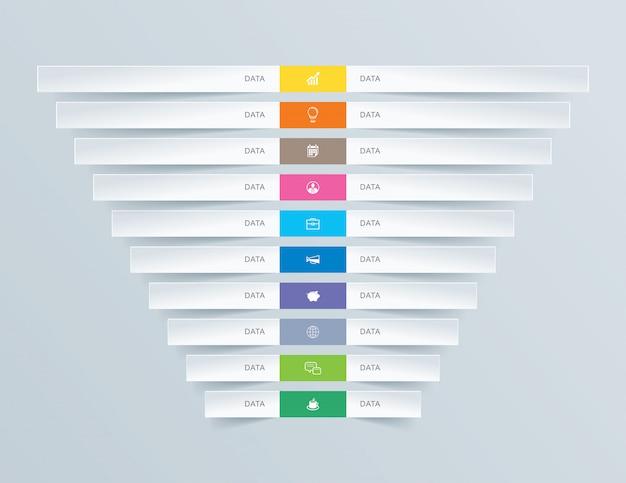 10 grafiekgegevens infographics tab papier indexsjabloon.