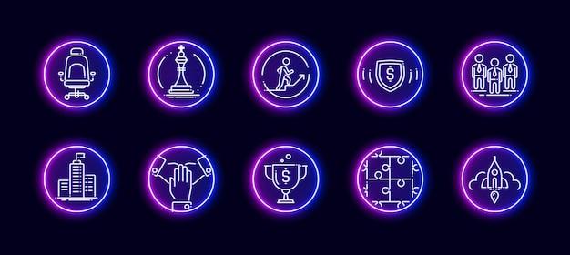 10 in 1 vector iconen set gerelateerd aan het thema van het hoofdkantoor. lineart vector iconen in neon gloed stijl geïsoleerd op de achtergrond.