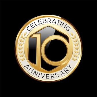 10 jaar verjaardag embleem illustratie