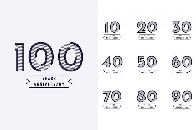 10 jarig jubileum instellen op 100 jaar jubileum sjabloonontwerp