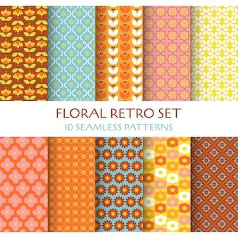 10 naadloze patronen floral retro set