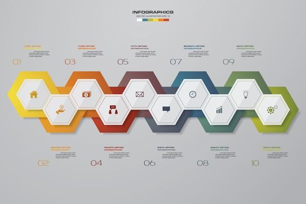 10 opties infographics tijdlijn voor presentatie.
