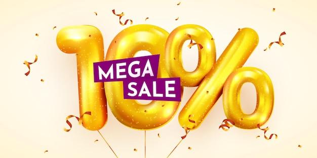 10 procent korting op creatieve compositie van gouden ballonnen mega-uitverkoop of tien procent
