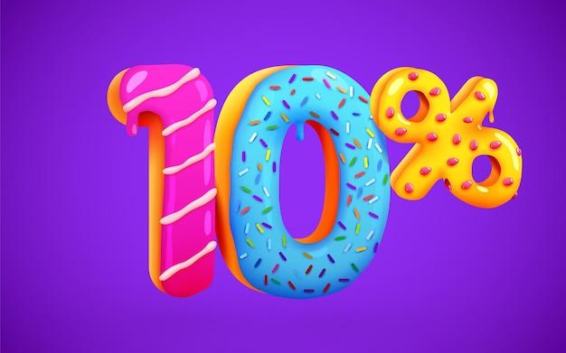 10 procent korting op korting dessert samenstelling 3d mega verkoop symbool met vliegende zoete donut nummers