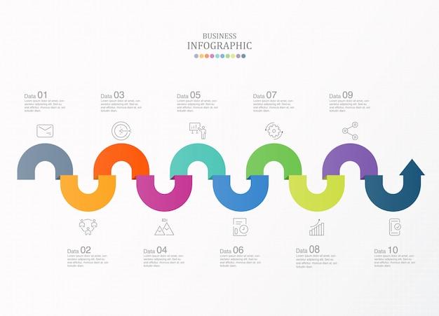 10 proces infographic en pictogrammen voor bedrijfsconcept.