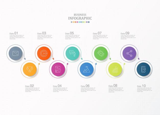 10 stappen infographic en pictogrammen voor bedrijfsconcept.