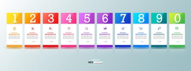 10 stappen infographics grafiekensjabloon