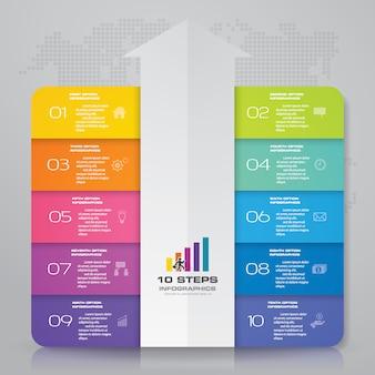 10 stappen pijl infographics element sjabloongrafiek.