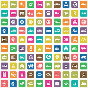 100 auto iconen grote universele set