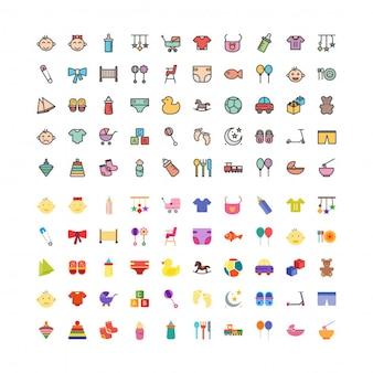 100 babyspeeltjes linefilled en vlakke pictogrammen instellen