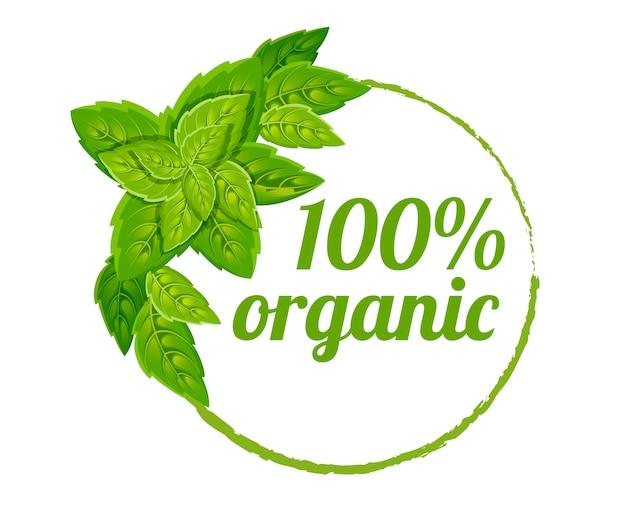 100 biologisch logo-ontwerp. groene eco stempel. kleur pictogram met bladeren. vlakke afbeelding. geïsoleerd op witte achtergrond.