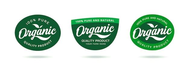 100% biologisch logobadge Premium Vector