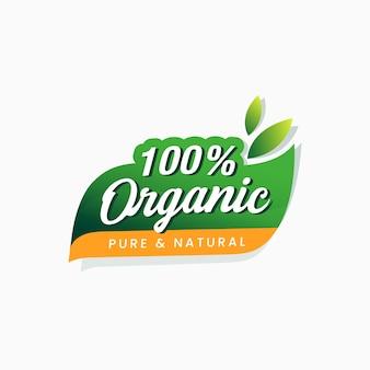 100% biologisch voedsel puur en natuurlijk sticker gecertificeerd label
