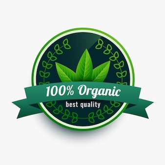 100% biologisch voedseletiketsticker met bladeren