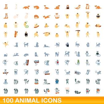 100 dieren pictogrammen instellen. cartoon illustratie van 100 dieren iconen set geïsoleerd