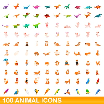 100 dieren pictogrammen instellen. cartoon illustratie van 100 dieren iconen vector set geïsoleerd op een witte background