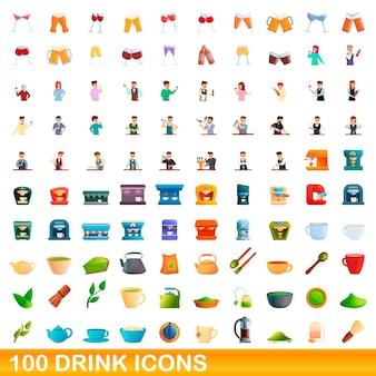 100 drank pictogrammen instellen. cartoon illustratie van 100 drank iconen vector set geïsoleerd op een witte background