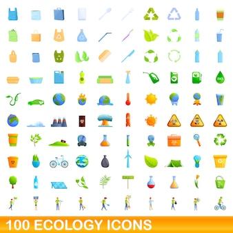 100 ecologie pictogrammen instellen. cartoon illustratie van 100 ecologie iconen set geïsoleerd