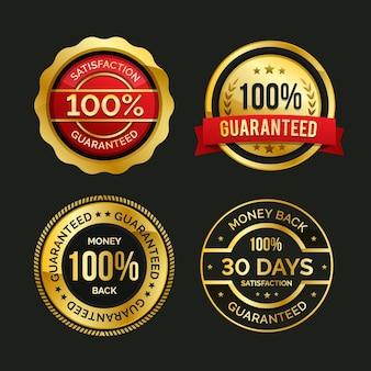 100% garantie label set Gratis Vector