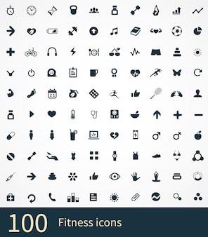 100 geplaatste fitnesspictogrammen