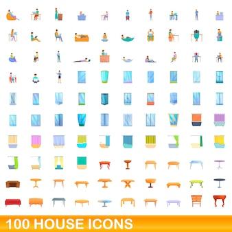 100 huis pictogrammen instellen. cartoon illustratie van 100 huis iconen set geïsoleerd