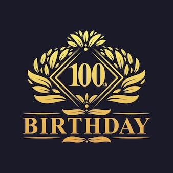 100 jaar verjaardagslogo, luxe gouden 100e verjaardagsviering.