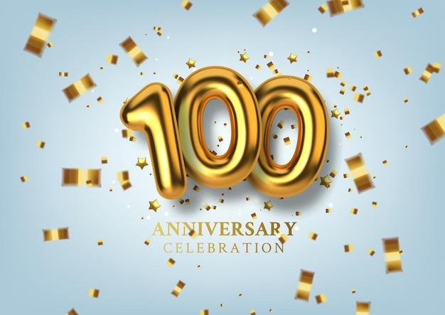 100-jarig jubileumnummer in de vorm van gouden ballonnen.