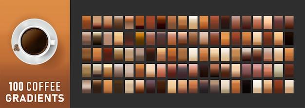 100 koffie gradiënten achtergrond set