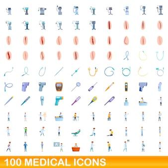 100 medische pictogrammen instellen. cartoon illustratie van 100 medische iconen vector set geïsoleerd op een witte background