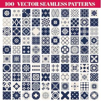 100 naadloze patronen achtergrondinzameling