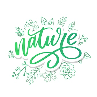 100 natuurlijke groene belettering sticker met brushpen kalligrafie.