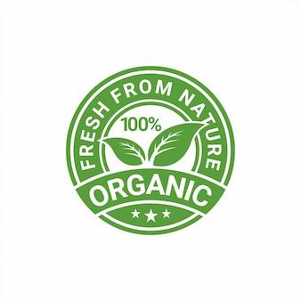 100% organisch, natuurlijk badge etiket ontwerp