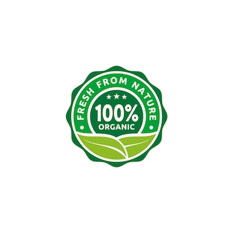 100% organisch, natuurlijk badge-etiket, zegelsticker-logo