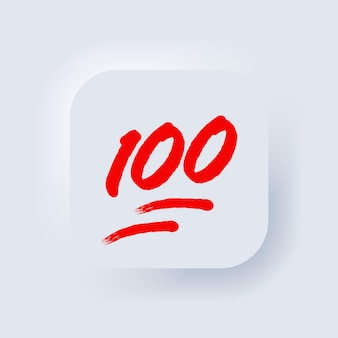 100 procent emoji. honderd procent teken. neumorphic ui ux witte gebruikersinterface webknop. neumorfisme. vectoreps 10.