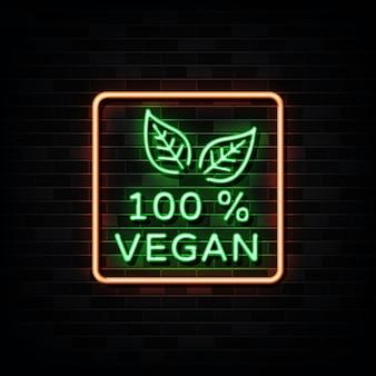 100 procent veganistisch neonreclame. ontwerpsjabloon neon stijl