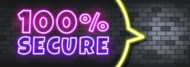 100 procent veilige neontekst op de stenen achtergrond. 100 procent veilig. voor zaken, marketing en reclame. vector op geïsoleerde achtergrond. eps-10.