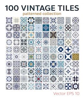 100 set vintage tegels patronen antiek naadloos ontwerp