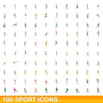 100 sportpictogrammen instellen. cartoon illustratie van 100 sport iconen set geïsoleerd