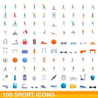 100 sportpictogrammen instellen. cartoon illustratie van 100 sport iconen vector set geïsoleerd op een witte background