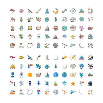 100 sterrenkunde lijnvormige en vlakke pictogrammen instellen
