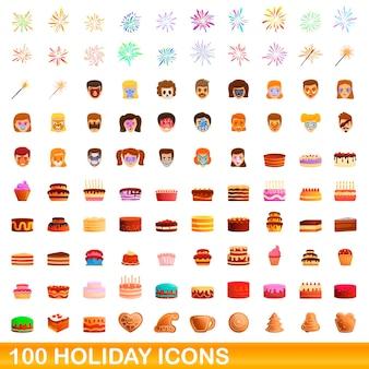 100 vakantie pictogrammen instellen. cartoon illustratie van 100 vakantie iconen set geïsoleerd