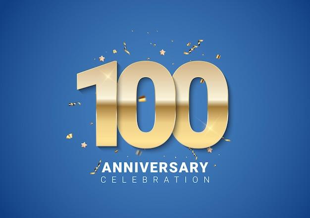 100 verjaardag achtergrond met gouden cijfers, confetti, sterren op heldere blauwe achtergrond. vectorillustratie eps10