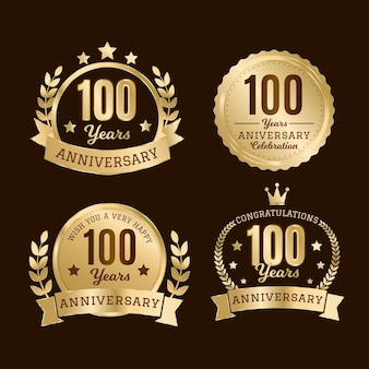 100 verjaardag badge-collectie
