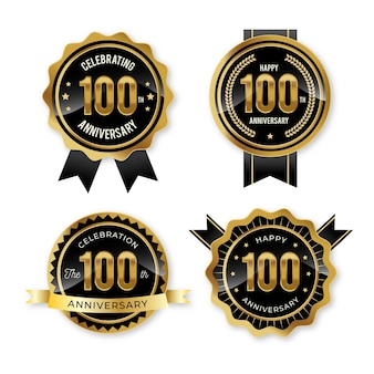 100 verjaardag badge-collectie Gratis Vector