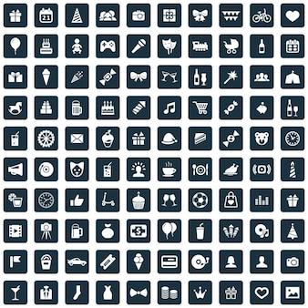 100 verjaardagspictogrammen grote universele set