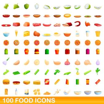 100 voedsel iconen set, cartoon stijl