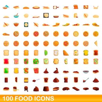 100 voedsel pictogrammen instellen. cartoon illustratie van 100 voedsel iconen vector set geïsoleerd op een witte background