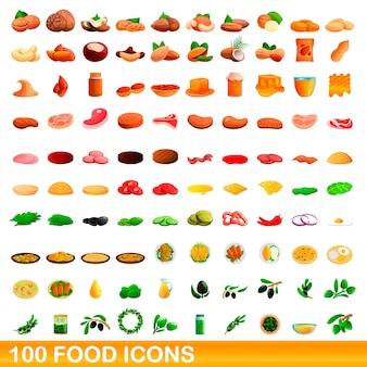 100 voedsel set, cartoon-stijl