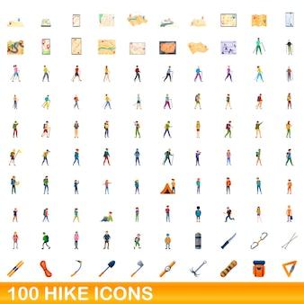 100 wandeling pictogrammen instellen. cartoon illustratie van 100 wandeling iconen set geïsoleerd