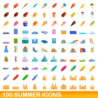 100 zomer pictogrammen instellen. cartoon illustratie van 100 zomer pictogrammen instellen geïsoleerd op een witte achtergrond